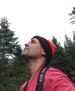 Chris Bosak looking for birds in Pittsburg, N.H.