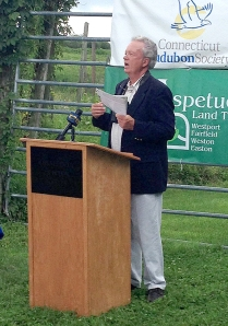 Hour photo/Chris Bosak Milan Bull of Connecticut Audubon speaks during the press conference to introduce the 2014 Connecticut State of Birds report Monday at Trout Brook Valley conservation area in Easton.