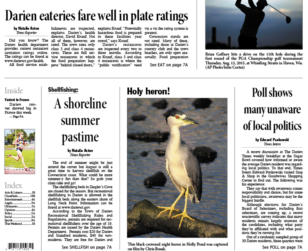 Chris Bosak photo of Black-crowned Night Heron on page one of The Darien Times, Thursday, August. 20, 2015.