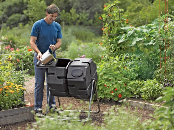 Gardener's Supply Company Tumbler composters are great for small spaces and make loading, unloading and turning much easier.